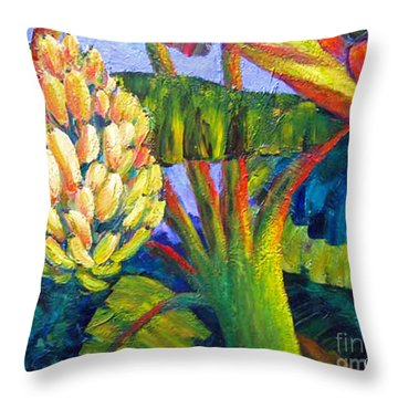 Bananas Throw Pillow by Cheryl Del Toro