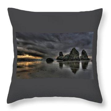 Bandon Beach Storm Throw Pillow