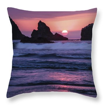 Bandon Beach Sunset Throw Pillow