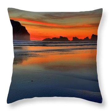 Bandon Foggy Fire Throw Pillow by Adam Jewell