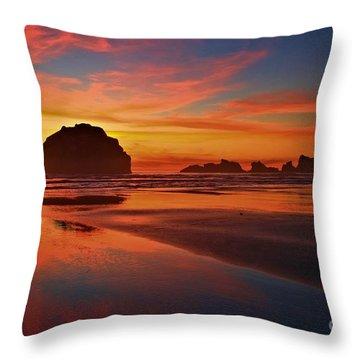 Bandon Sunset Spectacular Throw Pillow by Adam Jewell