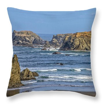 Bandon Beach Landscape Throw Pillow