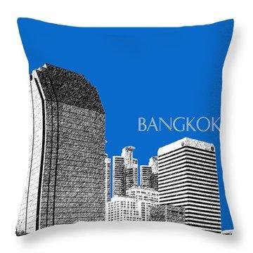 Bangkok Thailand Skyline 2 - Blue Throw Pillow by DB Artist