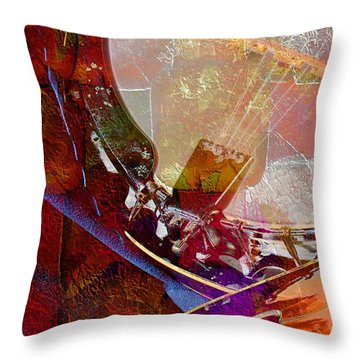 Throw Pillow featuring the photograph Banjo And Friend Digital Banjo And Guitar Art By Steven Langston by Steven Lebron Langston