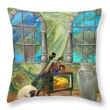 Throw Pillow featuring the mixed media Banjo Room by Ally  White