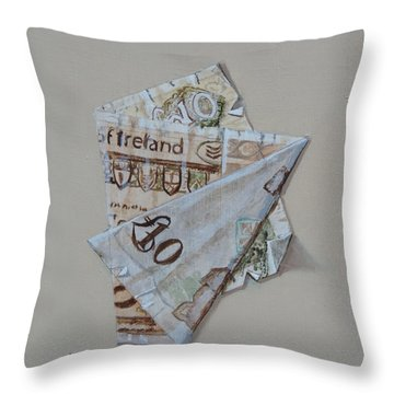 Bank Of Ireland Ten Pound Banknote Throw Pillow by Barry Williamson