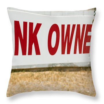 Throw Pillow featuring the photograph Bank Owned Real Estate Sign by Gunter Nezhoda