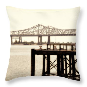 Throw Pillow featuring the photograph Bank The Bridge by Davina Washington