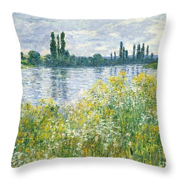 Banks Of The Seine Vetheuil Throw Pillow