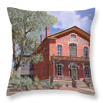 Bannock-montana-hotel Meade Throw Pillow by Guido Borelli