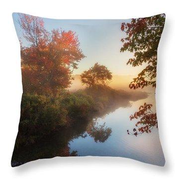 Bantam River Sunrise Throw Pillow by Bill Wakeley