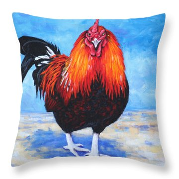 Throw Pillow featuring the painting Bantam Rooster by Penny Birch-Williams