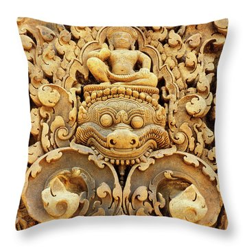 Banteay Srei Carving 01 Throw Pillow