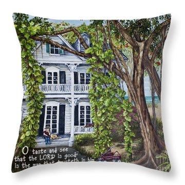 Banyan Beach House Psalm 34 Throw Pillow