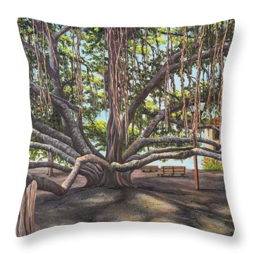 Banyan Tree Lahaina Maui Throw Pillow