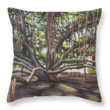 Banyan Tree Lahaina Maui Throw Pillow