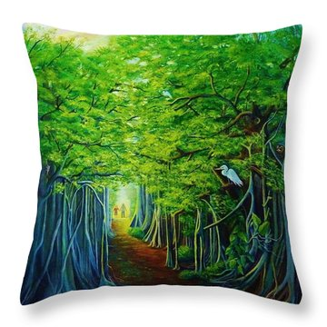 Banyan Walk Throw Pillow