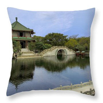 Baomo Garden Temple Throw Pillow