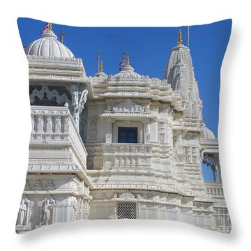 Baps Marble Mandir In Toronto Throw Pillow by Lingfai Leung