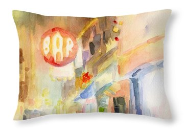 Bar 8th Avenue Watercolor Painting Of New York Throw Pillow by Beverly Brown