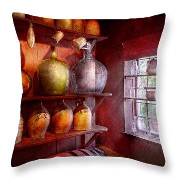 Bar - Bottles - Check Out These Big Jugs  Throw Pillow by Mike Savad
