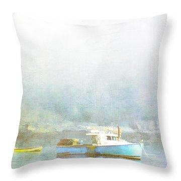 Bar Harbor Maine Foggy Morning Throw Pillow