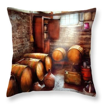 Bar - Wine - The Wine Cellar  Throw Pillow by Mike Savad