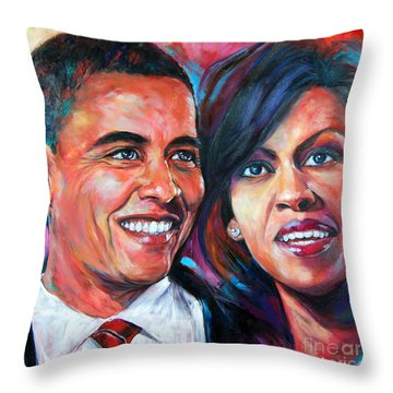 Barack And Michelle Obama Throw Pillow by Anju Saran