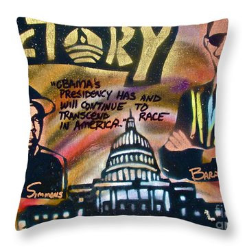 Barack And Russell Simmons Throw Pillow by Tony B Conscious