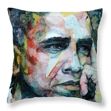 Barack Throw Pillow by Laur Iduc