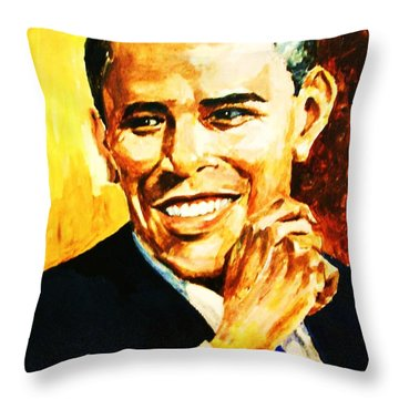 Barack Obama Throw Pillow by Al Brown