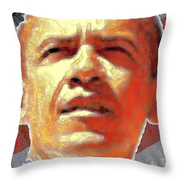 Barack Obama American President - Red White Blue Throw Pillow by Art America Gallery Peter Potter