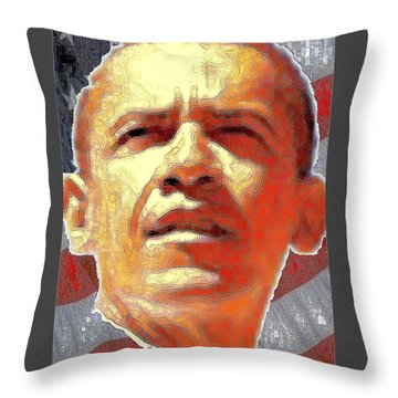 Barack Obama American President - Red White Blue Throw Pillow