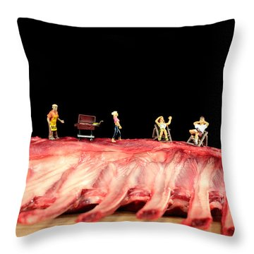 Barbecue On Lamb Ribs Throw Pillow by Paul Ge
