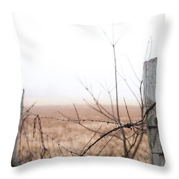 Barbed Wire Fence In The Fog Throw Pillow