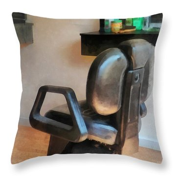 Barber - Barber Chair And Hair Supplies Throw Pillow by Susan Savad