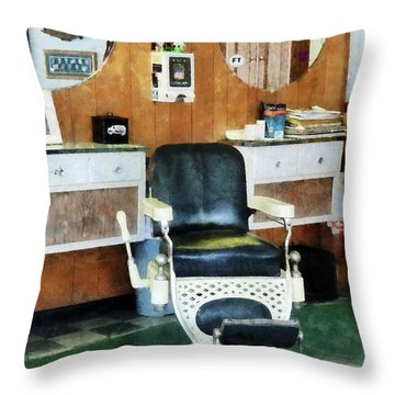 Barber - Barber Shop One Chair Throw Pillow by Susan Savad