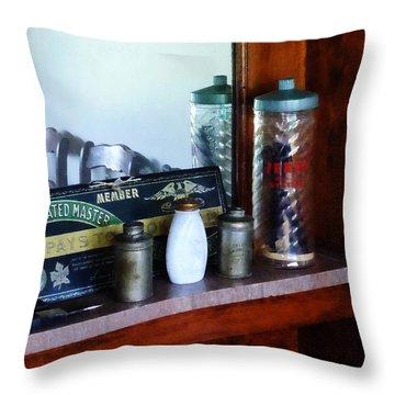 Barber - Barber Supplies Throw Pillow by Susan Savad