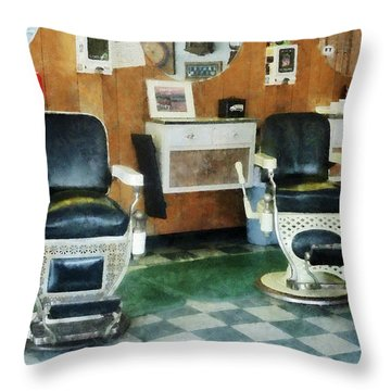 Barber - Corner Barber Shop Two Chairs Throw Pillow by Susan Savad