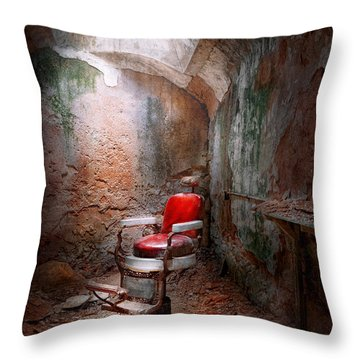 Barber - Eastern State Penitentiary - Remembering My Last Haircut  Throw Pillow by Mike Savad