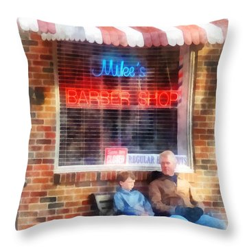 Barber - Neighborhood Barber Shop Throw Pillow