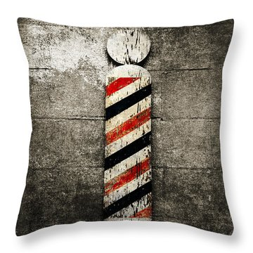 Barber Pole Selective Color Throw Pillow