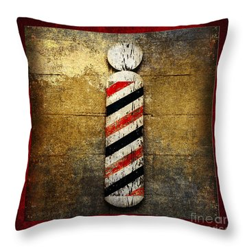 Barber Pole Square Throw Pillow by Andee Design
