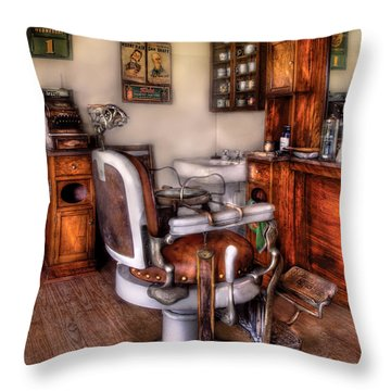 Barber - The Barber Chair Throw Pillow