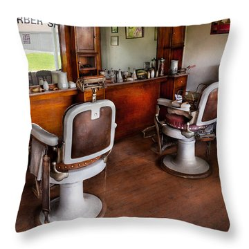Barber - The Hair Stylist Throw Pillow by Mike Savad