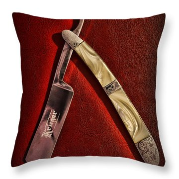 Barber - The Straight Edge Throw Pillow by Paul Ward
