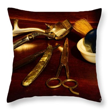 Barber - Things In A Barber Shop Throw Pillow by Paul Ward