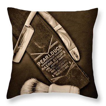 Barber - Tools For A Close Shave - Black And White Throw Pillow by Paul Ward