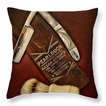 Barber - Tools For A Close Shave  Throw Pillow