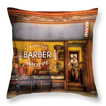 Barber - Towne Barber Shop Throw Pillow by Mike Savad